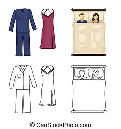 Isolated object of dreams and night symbol. Set of dreams and bedroom bitmap icon for stock.