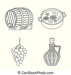 Isolated object of drink and manufacturing symbol. Collection of drink and restaurant vector icon for stock.