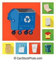Vector design of dump and sort symbol. Collection of dump and junk stock vector illustration.