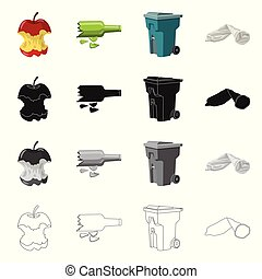 Vector design of dump and sort icon. Collection of dump and junk stock vector illustration.