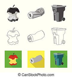 Vector design of dump and sort icon. Collection of dump and junk stock symbol for web.