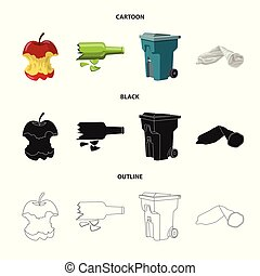 Vector design of dump and sort sign. Set of dump and junk vector icon for stock.