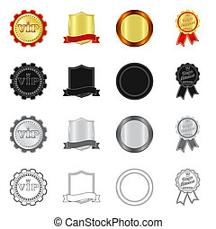 Isolated object of emblem and badge icon. Set of emblem and sticker stock vector illustration.