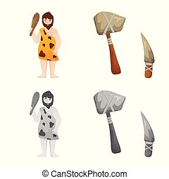 Isolated object of evolution and neolithic icon. Collection of evolution and primeval stock vector illustration.