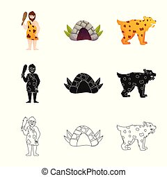 Isolated object of evolution and neolithic icon. Collection of evolution and primeval vector icon for stock.