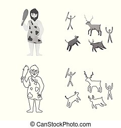 Isolated object of evolution and neolithic logo. Collection of evolution and primeval vector icon for stock.