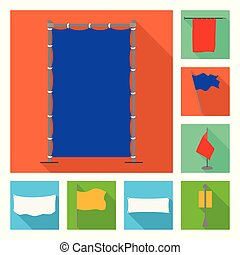 Isolated object of fabric and white icon. Set of fabric and presentation stock vector illustration.