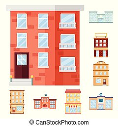 Isolated object of facade and building icon. Collection of facade and exterior stock vector illustration.