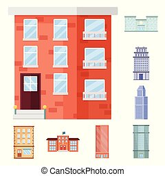 Isolated object of facade and building icon. Collection of facade and exterior vector icon for stock.