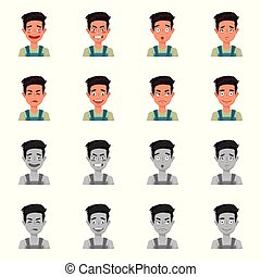 Isolated object of face and boy logo. Collection of face and expression stock vector illustration.