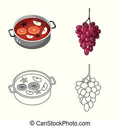 Isolated object of farm and vineyard icon. Collection of farm and product stock vector illustration.