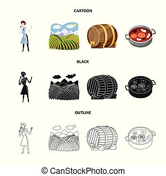 Isolated object of farm and vineyard icon. Set of farm and product stock vector illustration.