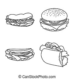 Vector design of fastfood and lunch logo. Collection of fastfood and snack stock symbol for web.