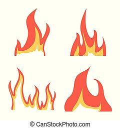 Isolated object of fire and red logo. Set of fire and campfire vector icon for stock.