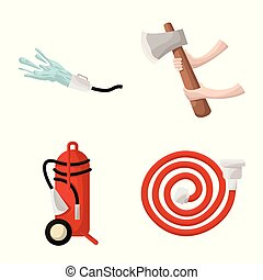 Isolated object of firefighters and fire icon. Set of firefighters and equipment stock vector illustration.