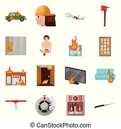 Isolated object of firefighters and fire logo. Collection of firefighters and equipment vector icon for stock.