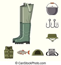 Isolated object of fish and fishing logo. Collection of fish and equipment vector icon for stock.