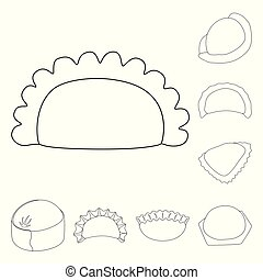 Isolated object of food and dish symbol. Set of food and cooking stock vector illustration.
