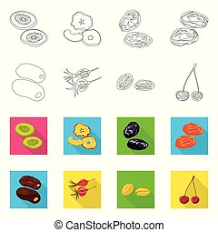 Isolated object of food and raw logo. Set of food and nature vector icon for stock.