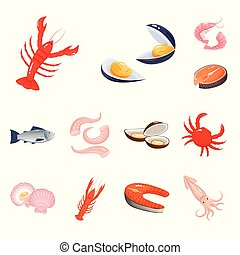 Isolated object of food and sea symbol. Collection of food and healthy vector icon for stock.