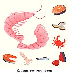 Isolated object of food and sea symbol. Set of food and healthy stock vector illustration.