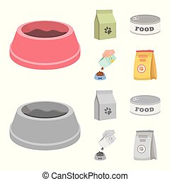 Isolated object of food and tin icon. Collection of food and bottle stock vector illustration.
