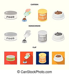 Isolated object of food and tin icon. Set of food and bottle vector icon for stock.