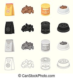 Isolated object of food and tin logo. Collection of food and bottle vector icon for stock.
