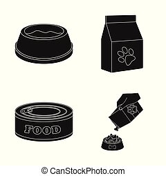 Isolated object of food and tin sign. Set of food and bottle vector icon for stock.