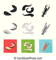 Isolated object of fresh and restaurant logo. Set of fresh and marine vector icon for stock.