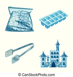 Isolated object of frost and water symbol. Set of frost and wet vector icon for stock.