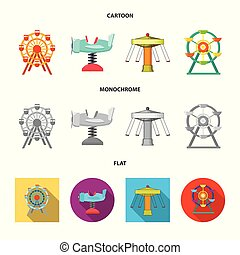 Isolated object of fun and horse icon. Collection of fun and circus stock vector illustration.