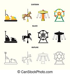 Isolated object of fun and horse logo. Collection of fun and circus vector icon for stock.