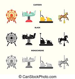 Isolated object of fun and horse sign. Set of fun and circus stock vector illustration.