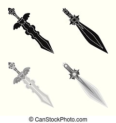 Isolated object of game and armor sign. Collection of game and blade stock symbol for web.