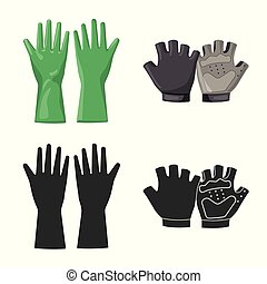 Isolated object of glove and winter symbol. Collection of glove and equipment stock vector illustration.