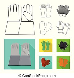 Isolated object of glove and winter symbol. Collection of glove and equipment vector icon for stock.