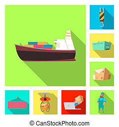 Isolated object of goods and cargo logo. Set of goods and warehouse bitmap icon for stock.