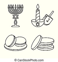 Isolated object of greeting and judaism icon. Set of greeting and holiday stock vector illustration.