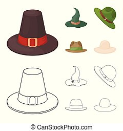 Isolated object of hat and cap symbol. Collection of hat and model stock vector illustration.