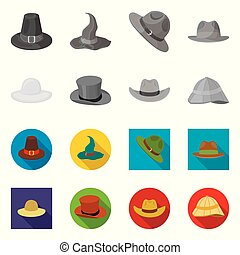 Isolated object of hat and cap symbol. Collection of hat and model vector icon for stock.