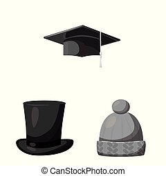 Isolated object of hat and helmet icon. Set of hat and...
