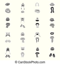 Isolated object of headwear and fashion logo. Set of...