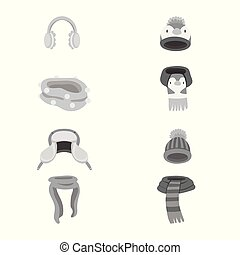 Isolated object of headwear and fashion sign. Set of...