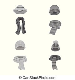 Isolated object of headwear and fashion symbol. Collection...