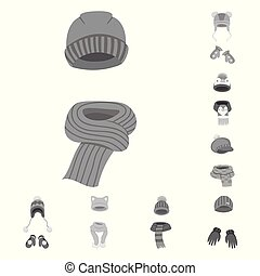 Isolated object of headwear and fashion symbol. Set of...