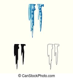 Isolated object of icicle and ice symbol. Set of icicle and ...