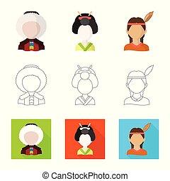 Isolated object of imitator and resident icon. Set of imitator and culture vector icon for stock.