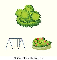 Isolated object of landscape and park icon. Set of landscape and nature stock symbol for web.
