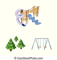 Isolated object of landscape and park symbol. Collection of landscape and nature stock vector illustration.